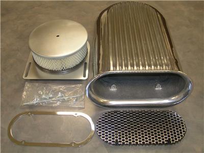 4 Barrel Aluminum Hood Scoop Air Cleaner Street Rat Rod