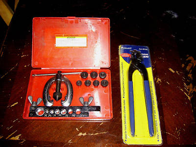 "double flaring tool kit  3/16-5/8"" with brake pliers"