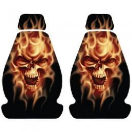 Seat Cover Low Back Lethal Threat Flaming Skull Pair