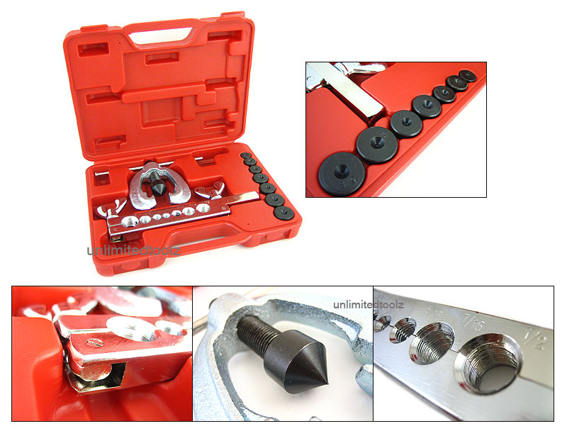 9 PCS DOUBLE FLARING TOOL KIT CASE BRAKE LINE 7 SIZES