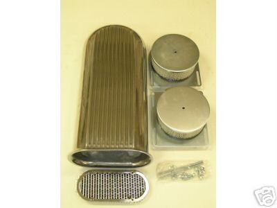 DUAL 4 BBL ALUMINUM HOOD SCOOP AIR CLEANER FORD CHEVY