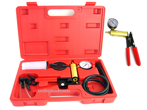 BRAKE BLEEDER & VACUUM PUMP TOOL COMPLETED KIT 17 PCS