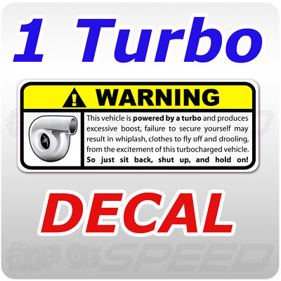 Turbo Warning Decal, Gart, 240, race, JDM, ITR, GT