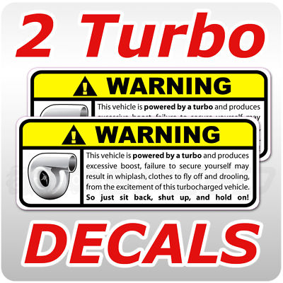2 Turbo Warning Decal, Gart, 240, race, JDM, ITR, GT