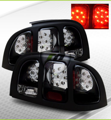 9498 Mustang LED Tail Lights Brake Lamps Black Cover