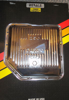 CHROME TRANSMISSION PAN GM TURBO 350 DERALE 70805