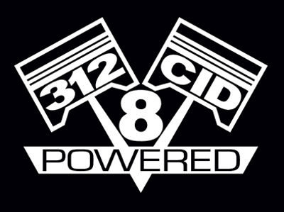 2 V8 312 CID ENGINE PISTON DECAL SET STICKER EMBLEMS