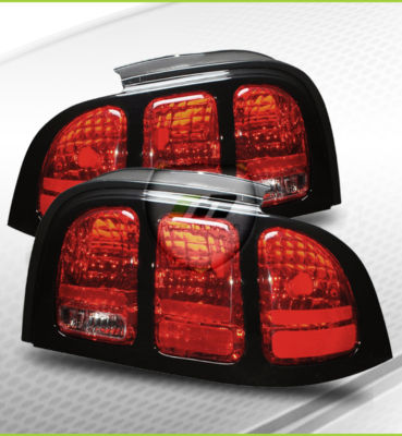 9498 Mustang Red Euro Tail Lights Brake Lamp BLK Cover