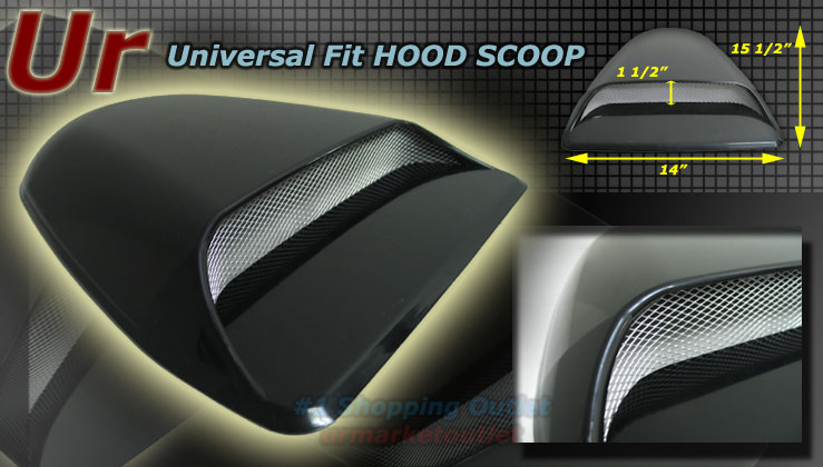 Universal Air Flow Turbo Black Hood Scoop /Couple/SUV