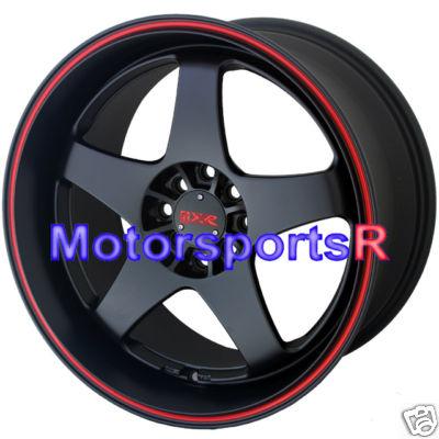17 9 XXR Wheels 962 Black Red Stripe 89 90 94 240sx S13