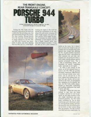 Porsche 944 Turbo review Automobile Magazine 1987