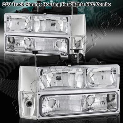 Chrome Housing HeadlightCornerBumper Light 8PC Combo