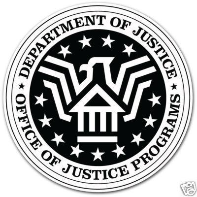 DEPARTMENT OF JUSTICE CAR BUMPER STICKER 4″X4