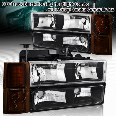 Black Housing HeadlightAmber Smoke CornerBumper Light