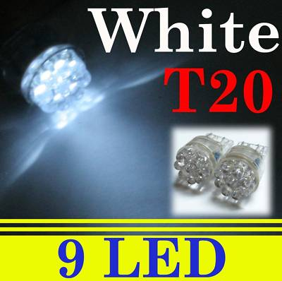 2 pcs 9 LED Car Light T20 7440 Tail Brake Bulb White