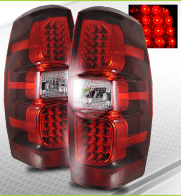 0709 Avalanche Red Clear LED Tail Lights Brake Lamps