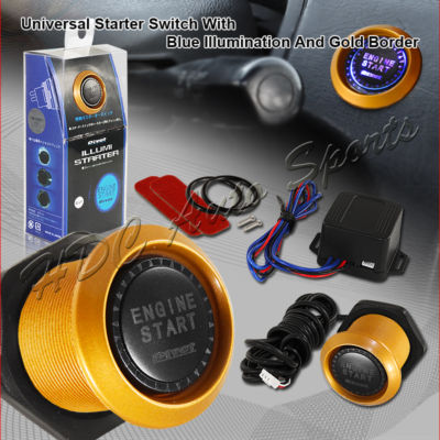 Universal Engine Starter Switch W/ Gold Border Blue LED
