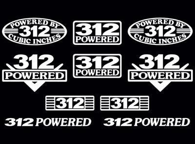 10 DECAL SET 312 V8 ENGINE TBIRD FAIRLANE YBLOCK DECALS