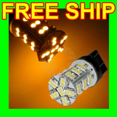 2x 7443 7440 T20 42SMD AMBER TAIL BRAKE LED LIGHT BULB