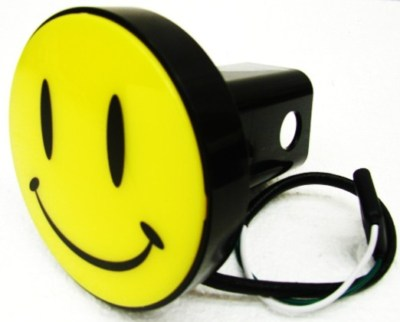 HAPPY SMILEY FACE HITCH COVER 2 RECIEVER BRAKE LIGHTDQ