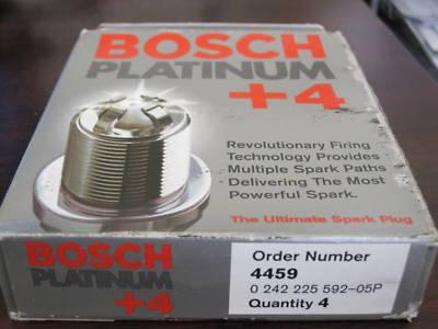 BOSCH 4 PLATINUM SPARK PLUGS, 4 PACK, PART # 4459