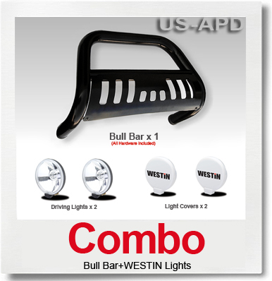 Combo0811 Pathfinder Bull Bar BlackWestin Light