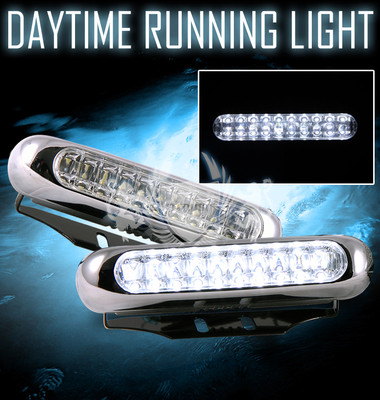 7000k White Chrome Trim 20led DRL Daytime Running Bumper Fog Lights Lamps