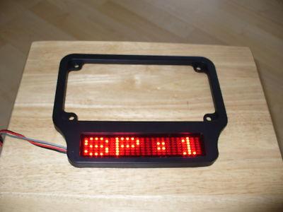 Motorcycle LED brake tail light black frame & message