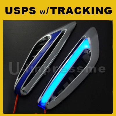 Blue LED Light Car SUV Truck Side Marker Signal Indicators Air Scoop Vent Fender