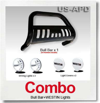 Combo0811 Pathfinder Bull Bar BlackWestin Light