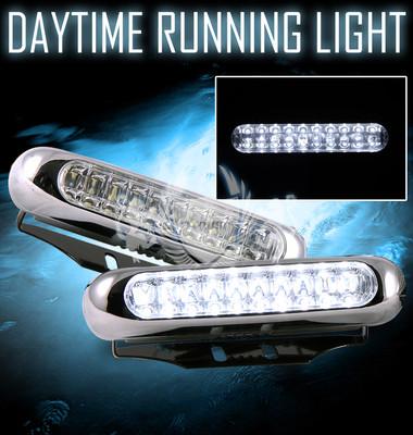 7000k White Chrome Trim 20led DRL Daytime Running Bumper Fog Lights Lamps
