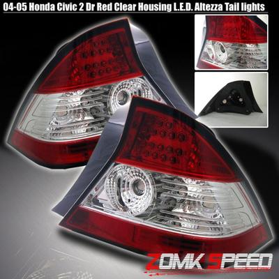 2004-05 Honda Civic 2DR Coupe LED Red Clear Tail Brake Lights Lamps