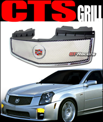 Chrome Stainless Mesh Front Bumper Grille Abs W/Emblem 0307 Cadillac Cts V 2003